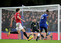 Michy Batshuayi of Chelsea takes a shot at the Manchester United goal, but it goes the wrong side of the post during Chelsea vs Manchester United, Premier League Football at Stamford Bridge on 17th February 2020