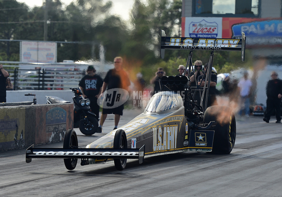 Jan. 16, 2013; Jupiter, FL, USA: NHRA top top fuel dragster driver Tony Schumacher during testing at the PRO Winter Warmup at Palm Beach International Raceway.  Mandatory Credit: Mark J. Rebilas-