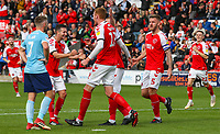 Fleetwood Town's Cian Bolger celebrate scoring the opening goal with teammates<br /> <br /> Photographer Alex Dodd/CameraSport<br /> <br /> The EFL Sky Bet League One - Fleetwood Town v Accrington Stanley - Saturday 15th September 2018  - Highbury Stadium - Fleetwood<br /> <br /> World Copyright &copy; 2018 CameraSport. All rights reserved. 43 Linden Ave. Countesthorpe. Leicester. England. LE8 5PG - Tel: +44 (0) 116 277 4147 - admin@camerasport.com - www.camerasport.com