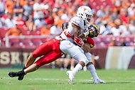 Landover, MD - September 1, 2018: Texas Longhorns running back Kamari Williams (36) is tackled in open field during game between Maryland and No. 23 ranked Texas at FedEx Field in Landover, MD. The Terrapins upset the Longhorns in back to back season openers with a 34-29 win. (Photo by Phillip Peters/Media Images International)