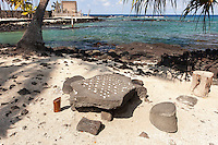 Konane replica game w/ pebbles in Pu'uhonua o Honaunau place of refuge national historical park, Big Island, Hawaii