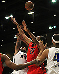 Reno Bighorns Antoine Wright and Idaho Stampede's Mikki Moore fight for a rebound during a basketball game Sunday, April 1, 2012 in Reno, Nev. Idaho won 108-99..Photo by Cathleen Allison