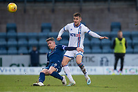 4th January 2020; Dens Park, Dundee, Scotland; Scottish Championship Football, Dundee FC versus Inverness Caledonian Thistle; Josh Meekings of Dundee clears from Nikolay Todorov of Inverness Caledonian Thistle  - Editorial Use