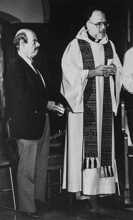 Rep. Henry Waxman, D-Calif., while Friar Ray Kemp gave a prayer service for Rep. Leland. Holy Comforter St. Cyprian at catholic church initiated by Mark Pestak (L.A.) and Cathy Hurwit (L.D.) of Rep. Markey's office on Aug. 8, 1989. (Photo by Maureen Keating/CQ Roll Call)
