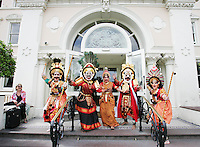 23/7/2020. YAKSHAGANA KENDRA from India are pictured at the launch of  The Dún Laoghaire Festival of World Cultures 10th anniversary Festival at the Royal Marine Hotel, Dún Laoghaire.  The 10th annual Festival of World Cultures opens Friday July 23 and runs until Sunday July 25, 2010. Picture James Horan/Collins Photos