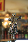 Antique beer pump metal female figure, inside famous historic Los Gatos Cervecerias bar, Madrid, Spain