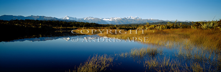 Southern Alps from Five Mile Lagoon. Westland National Park. New Zealand.