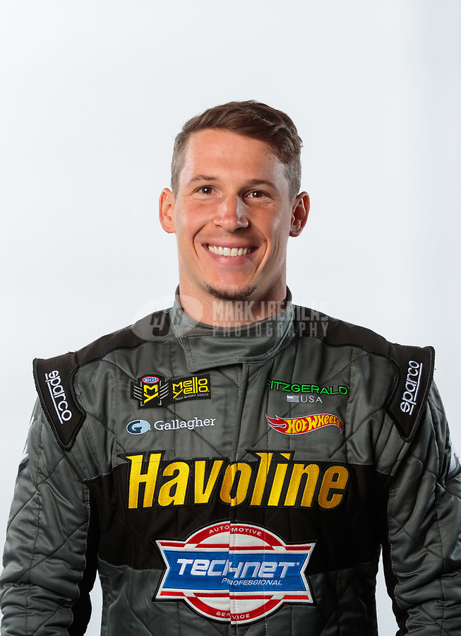 Feb 6, 2019; Pomona, CA, USA; NHRA pro stock driver Alex Laughlin poses for a portrait during NHRA Media Day at the NHRA Museum. Mandatory Credit: Mark J. Rebilas-USA TODAY Sports