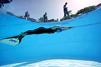 Elisabeth Kristoffersen photographed during freedive competition, Aarhus Triple Challenge. Freedive consist of various competition all centered around the ability to stay under water as long as possible, with a single breath of air.