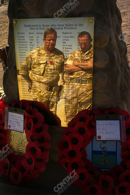 A plaque of names of British soldier killed in action in Afghanistan, Camp Bastion on Remembrance Day, Helmand, Afghanistan, November 11, 2007.