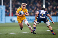 25th January 2020; Sixways Stadium, Worcester, Worcestershire, England; Premiership Rugby, Worcester Warriors versus Wasps; Tommy Taylor of Wasps prepares for a tackle from Marco Mama of Worcester Warriors