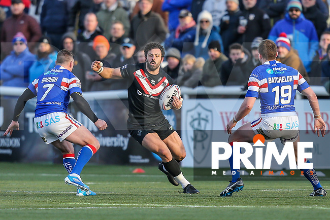 Rhys WILLIAMS of London Broncos (centre) during the Betfred Super League match between London Broncos and Wakefield Trinity at Castle Bar , West Ealing , England on 3 February 2019. Photo by David Horn.