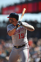 SAN FRANCISCO, CA - APRIL 25:  Matt Adams #15 of the Washington Nationals bats against the San Francisco Giants during the game at AT&T Park on Wednesday, April 25, 2018 in San Francisco, California. (Photo by Brad Mangin)