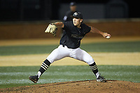 Wake Forest Demon Deacons relief pitcher Bobby Hearn (34) in action against the Virginia Cavaliers at David F. Couch Ballpark on May 18, 2018 in  Winston-Salem, North Carolina.  The Cavaliers defeated the Demon Deacons 15-3.  (Brian Westerholt/Four Seam Images)