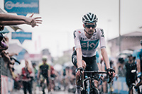 Wout Poels (NED/SKY) rolling in after finishing in the rain<br /> <br /> stage 17: Riva del Garda - Iseo (155 km)<br /> 101th Giro d'Italia 2018
