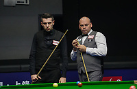 31st October 2019, Yushan, Jiangxi Province, China; Mark Selby L of England and his compatriot Stuart Bingham compete during their round of 16 match at 2019 Snooker World Open in Yushan