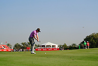 Luke Donald (ENG) plays his 2nd shot on the 8th hole during Thursday's Round 1 of the HSBC Golf Championship at the Abu Dhabi Golf Club, United Arab Emirates, 26th January 2012 (Photo Eoin Clarke/www.golffile.ie)