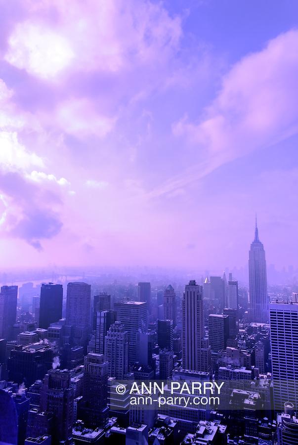 Manhattan Purple Haze Skyline from Above