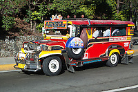 """Jeepneys are a popular means of public transportation in the Philippines and were originally made of abandoned US army jeeps left behind after World War II.  Jeepneys are known for flamboyant decorations and funny names given by their owners such as """"One Love"""".  They have become almost a symbol of Filipino culture and ingenuity. The word Jeepney derives from a combination of jeep and jitney. At the end of WWII jeepneys were stripped down, metal roofs were added for shade; and they were decorated with vibrant colors and ornaments."""