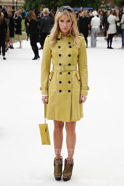 Suki Waterhouse arriving for the Burberry Prorsum catwalk show as part of London Fashion Week SS13, Kensington Gardens, London. 17/09/2012 Picture by: Steve Vas / Featureflash