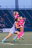Rochester, NY - Saturday Aug. 27, 2016: Cari Roccaro, Lynn Williams during a regular season National Women's Soccer League (NWSL) match between the Western New York Flash and the Houston Dash at Rochester Rhinos Stadium.