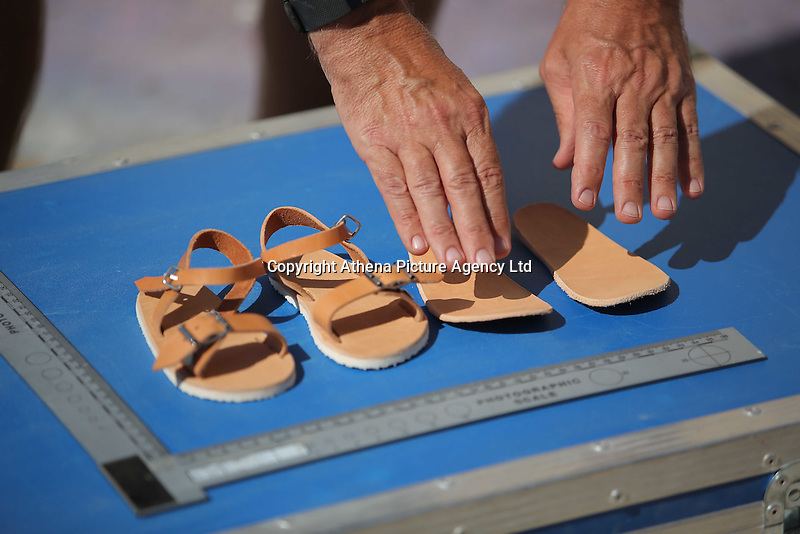 Pictured: CSI Forensics officer Frank Harkness presents a copy of a pair of sandals similar to those worn by Ben Needham in Kos, Greece. Saturday 01 October 2016<br /> Re: Police teams led by South Yorkshire Police, searching for missing toddler Ben Needham on the Greek island of Kos have moved to a new area in the field they are searching.<br /> Ben, from Sheffield, was 21 months old when he disappeared on 24 July 1991 during a family holiday.<br /> Digging has begun at a new site after a fresh line of inquiry suggested he could have been crushed by a digger.