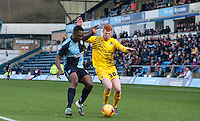 Rory Gaffney of Bristol Rovers holds off Anthony Stewart of Wycombe Wanderers during the Sky Bet League 2 match between Wycombe Wanderers and Bristol Rovers at Adams Park, High Wycombe, England on 27 February 2016. Photo by Claudio Nako.