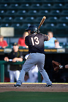 Jupiter Hammerheads first baseman Eric Gutierrez (13) at bat during the second game of a doubleheader against the Bradenton Marauders on May 27, 2018 at LECOM Park in Bradenton, Florida.  Jupiter defeated Bradenton 4-1.  (Mike Janes/Four Seam Images)