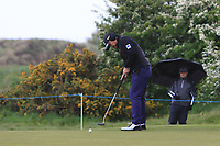Yusaku Miyazato (JPN) on the 4th green during Round 1 of the Betfred British Masters 2019 at Hillside Golf Club, Southport, Lancashire, England. 09/05/19<br />