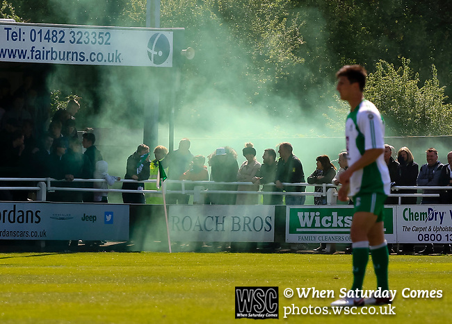 A green flare let off by celebrating North Ferriby fans. Vanarama National League North, Promotion Final, North Ferriby United v AFC Fylde, 14th May 2016.
