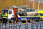 The scene at the crash on the Killarney Glenflesk road near the railway crossing on Sunday afternoon
