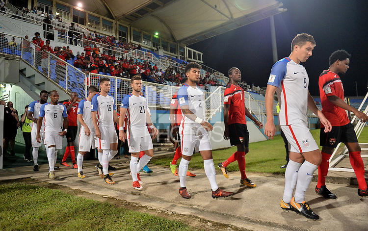 Couva, Trinidad & Tobago - Tuesday Oct. 10, 2017: USMNT starting eleven during a 2018 FIFA World Cup Qualifier between the men's national teams of the United States (USA) and Trinidad & Tobago (TRI) at Ato Boldon Stadium.