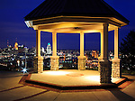 The Gazebo At The Drees Pavillion In Devou Park Overlooking The Cincinnati, Northern Kentucky Metroplex At Night, Covington Kentucky, USA