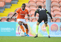Blackpool's Sullay Kaikai under pressure from Macclesfield Town's Corey O'Keeffe<br /> <br /> Photographer Kevin Barnes/CameraSport<br /> <br /> The Carabao Cup First Round - Blackpool v Macclesfield Town - Tuesday 13th August 2019 - Bloomfield Road - Blackpool<br />  <br /> World Copyright © 2019 CameraSport. All rights reserved. 43 Linden Ave. Countesthorpe. Leicester. England. LE8 5PG - Tel: +44 (0) 116 277 4147 - admin@camerasport.com - www.camerasport.com