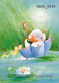 Ron, CUTE ANIMALS, Quacker, paintings, duck, blue umbrella(GBSG6442,#AC#) Enten, patos, illustrations, pinturas