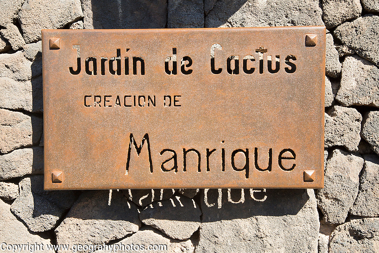 Sign for Jardin de Cactus designed by César Manrique, Guatiza, Lanzarote, Canary Islands, Spain