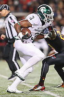 College Park, MD - October 22, 2016: Michigan State Spartans running back LJ Scott (3) in action during game between Michigan St. and Maryland at  Capital One Field at Maryland Stadium in College Park, MD.  (Photo by Elliott Brown/Media Images International)
