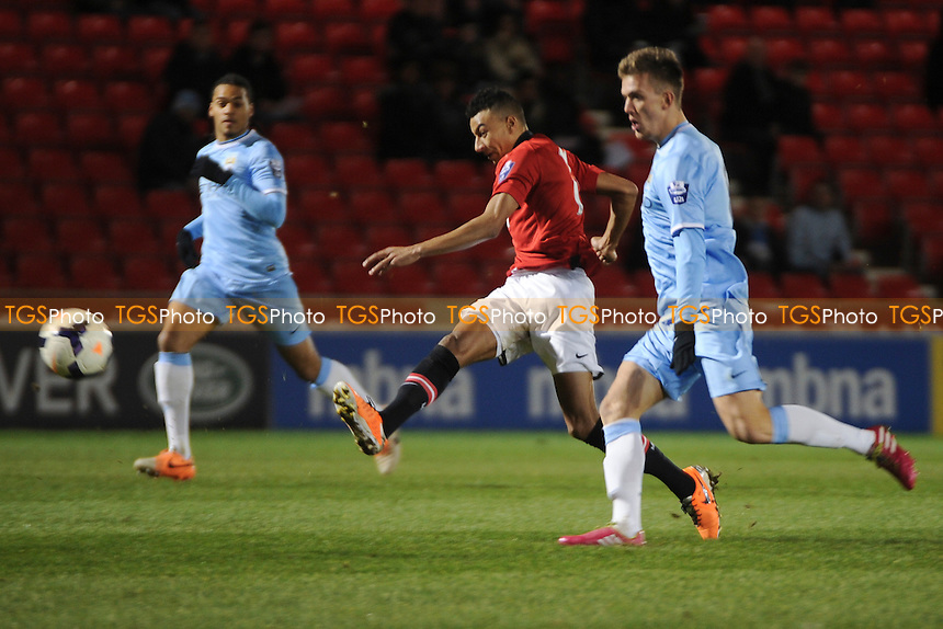 Jesse Lingard of Manchester United has a shot at goal - Manchester United Under-21 vs Manchester City Under-21 - Barclays Under-21 Premier League Football at Salford City Stadium, Manchester - 27/01/14 - MANDATORY CREDIT: Greig Bertram/TGSPHOTO - Self billing applies where appropriate - 0845 094 6026 - contact@tgsphoto.co.uk - NO UNPAID USE