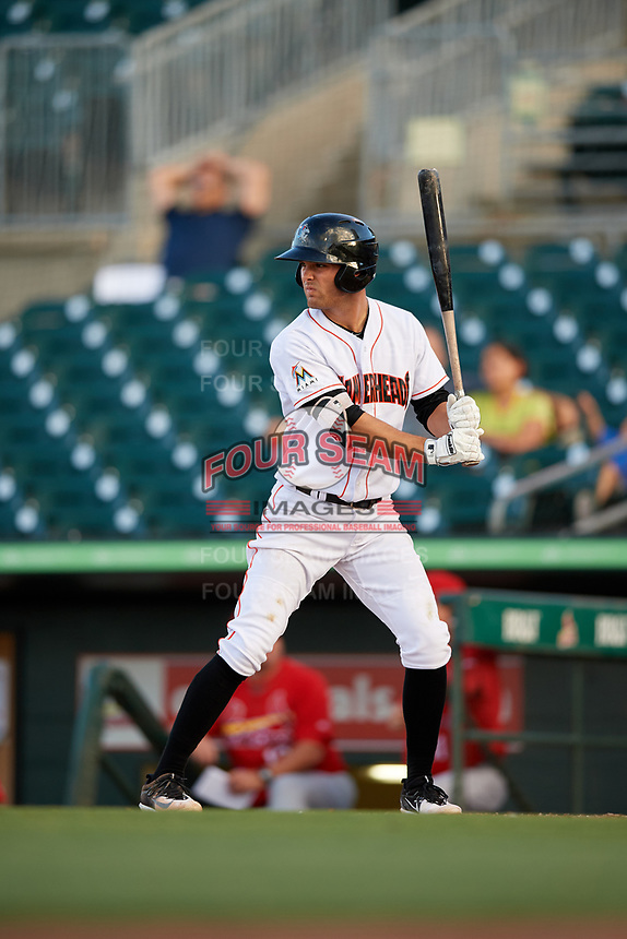 Jupiter Hammerheads second baseman Riley Mahan (2) at bat during a game against the Palm Beach Cardinals on August 4, 2018 at Roger Dean Chevrolet Stadium in Jupiter, Florida.  Palm Beach defeated Jupiter 7-6.  (Mike Janes/Four Seam Images)