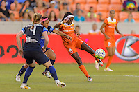 Houston, TX - Sunday June 19, 2016: Houston Dash forward Chioma Ubogagu (9) during a regular season National Women's Soccer League (NWSL) match between the Houston Dash and FC Kansas City at BBVA Compass Stadium.