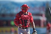 Vancouver Canadians catcher Yorman Rodriguez (13) during a Northwest League game against the Spokane Indians at Avista Stadium on September 2, 2018 in Spokane, Washington. The Spokane Indians defeated the Vancouver Canadians by a score of 3-1. (Zachary Lucy/Four Seam Images)