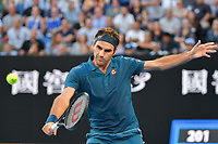 January 20, 2019: 3rd seed Roger Federer of Switzerland in action in the fourth round match against 14th seed Stefanos Tsitsipas of Greece on day seven of the 2019 Australian Open Grand Slam tennis tournament in Melbourne, Australia. Photo Sydney Low