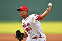 Starting pitcher Darwinzon Hernandez (51) the Greenville Drive delivers a pitch in a game against the Lexington Legends on Wednesday, April 12, 2017, at Fluor Field at the West End in Greenville, South Carolina. Greenville won, 4-1. (Tom Priddy/Four Seam Images)