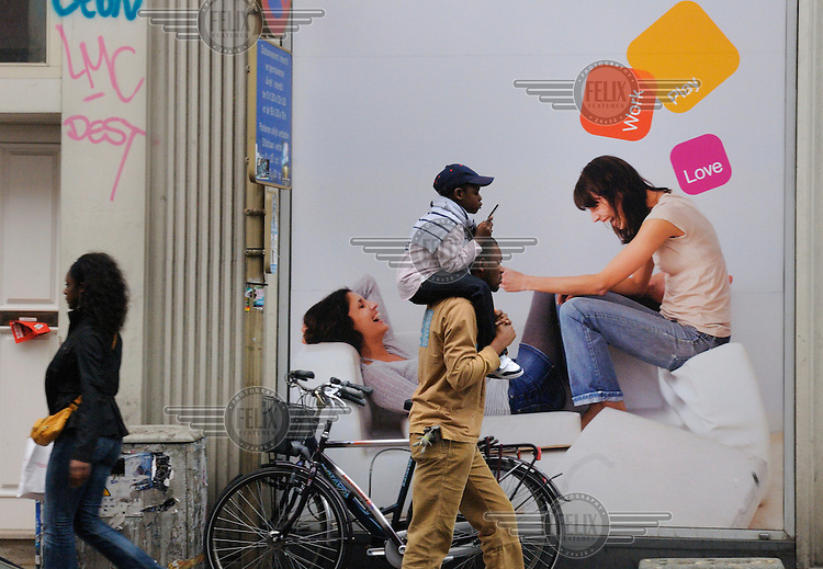 Advertising for mobile phone services in Ixelles district, which is the heart of African Brussels.