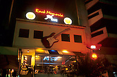 Rio de Janeiro, Brazil; Rock Memoria, very fashionable night club on the Rodrigo de Freitas lagoon.