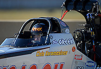 Sept. 23, 2012; Ennis, TX, USA: NHRA top fuel dragster driver Chris Karamesines during the Fall Nationals at the Texas Motorplex. Mandatory Credit: Mark J. Rebilas-US PRESSWIRE