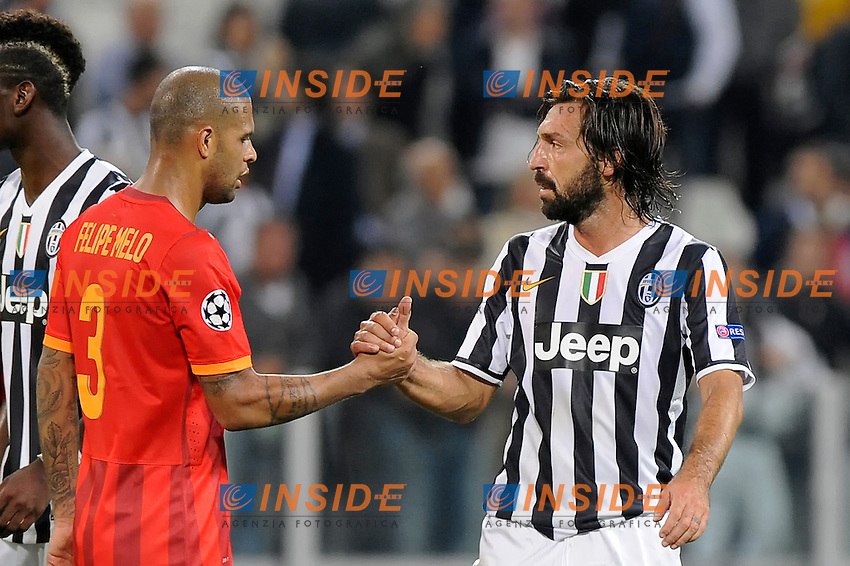 Galatasaray's defender Felipe Melo and Juventus' midfielder Andrea Pirlo greet ath the end of the match <br /> Torino 02-10-2013 Juventus Stadium<br /> UEFA Champions League 2013/2014<br /> Football Calcio Juventus vs Galatasaray<br /> Foto Insidefoto Giorgio Perottino