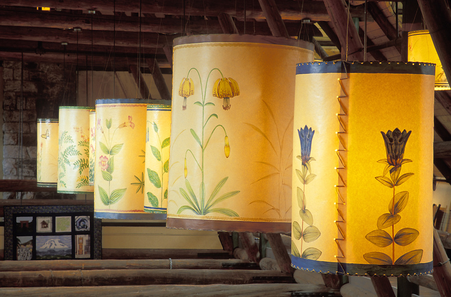 Wildflowers painted on lampshades in Paradise Inn, Paradise, Mount Rainier National Park, Washington
