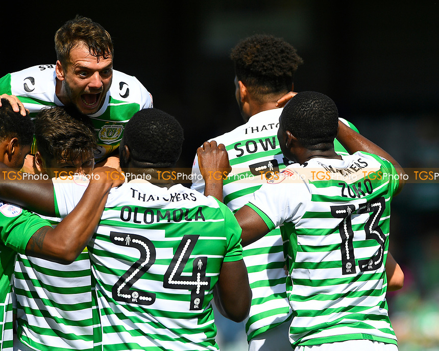 Ryan Dickson of Yeovil Town left celebrates with goalscorer Francois Zoko of Yeovil Town (13) during Yeovil Town vs Accrington Stanley, Sky Bet EFL League 2 Football at Huish Park on 12th August 2017