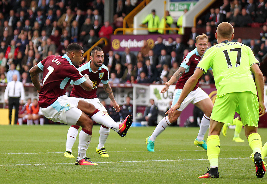 Burnley's Andre Gray scores his sides second goal <br /> <br /> Photographer Rich Linley/CameraSport<br /> <br /> Football - The Premier League - Burnley v Liverpool - Saturday 20 August 2016 - Turf Moor - Burnley<br /> <br /> World Copyright &copy; 2016 CameraSport. All rights reserved. 43 Linden Ave. Countesthorpe. Leicester. England. LE8 5PG - Tel: +44 (0) 116 277 4147 - admin@camerasport.com - www.camerasport.com